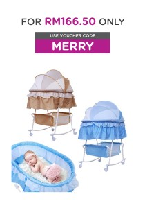 Alpha Living Baby Swing Bassinet with Mosquito Net PLUS Portable Folding Baby Lounge - Brown / Blue (BAY0034)