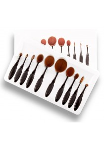 10pcs Tooth Brush Shape Oval Makeup Brush Set