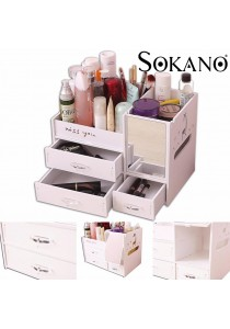 SOKANO WF010 European Style Wooden Comestic Organizer With Drawers and Mirror - White