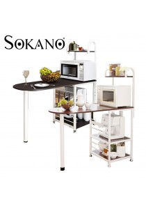 SOKANO D446 Dining Table with Attached Multipurpose Kitchen Shelf