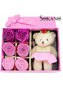 SOKANO Cutie Bear With 6 Pcs Flower Soap - Pink