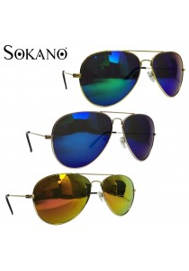 SoKaNo Trendz 3026 Unisex Casual Sunglasses Gold Frame with Lens (Free Sunglasses Case)