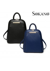 SoKaNo Trendz SKN736 Korean Style PU Leather Double Strap Backpack