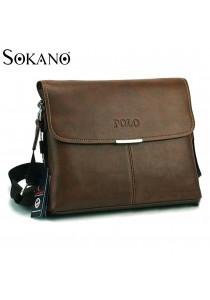 SoKaNo Trendz Premium POLO 3001 Horizontal Leather Bag (Dark Brown)