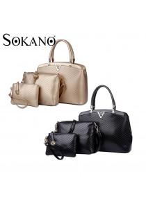 SoKaNo Trendz Luxury V Shape PU Leather Bag- Set of 3