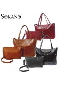 SoKaNo Trendz Classic Fashion PU Leather Set of 2 Tote Bag