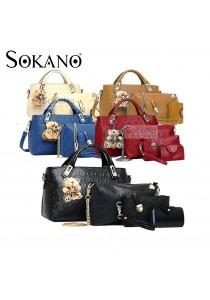 SoKaNo Trendz 5 Pcs Set Crocodile Faux Tote Bags