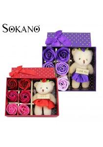Sokano Cutie Bear with 6 PCs Flower Soap
