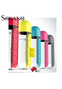 Sokano 600ml Water Bottle with Pill and Vitamins Organizer
