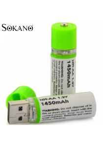 Sokano Environmental Friendly USB Rechargeable 1450mAh NH-AA Battery (2pcs)