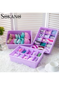 Bundle: Sokano Set of 3 Hard PVC Organizer Set with Cover and Separator (Purple)