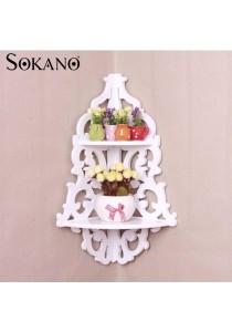 Sokano WF002 European Style Wooden Corner Hanging Shelf - White
