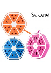 Sokano Hexagon Multiple International Sockets With 4 Chargeable USB Ports