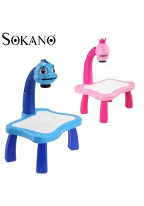 Sokano Kid Drawing Table With Projection, Light and Music (Free Drawing Book and Colouring Pen)