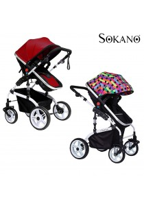 Sokano 1309 Luxurious High View Detachable Bassinet Anti - Shock Stroller