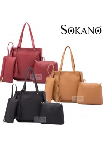 SoKaNo Trendz SKN825 PU Leather Tote Bag Set of 3