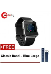 Fitbit Blaze Smart Fitness Tracker Wristband Watch (Large - Black) *FREE Classic Blue Band - Large
