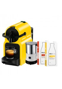Nespresso Inissia Coffee Capsules Machines (Yellow) + Tao Milk Frother + MilkLAB Almond & Soy Milk