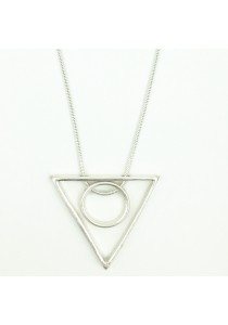 White Gold Color Triangle & Round Shape Pendant Alloy Necklace 78cm - NL329 (White Gold)