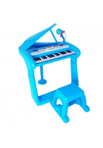 Children Multi-Function Musical Piano with Microphone and Stool (Blue)