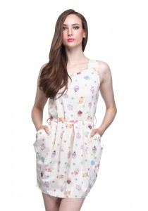 Angel Court Elastic Waistband Sleeveless Round Neck Mini Dress AC37-2780