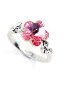 Austrian Crystal Ring Flower Ring (Size 10)