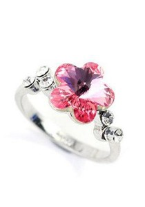 Austrian Crystal Ring Flower Ring (Size 13)