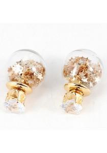 Elegant Gold Color Star Round Shape Earring
