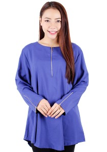 KM Blouse With Zip Tops (Blue)