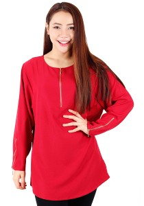 KM Blouse With Zip Tops (Red)
