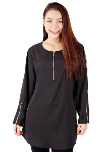 KM Blouse With Zip Tops (Black)