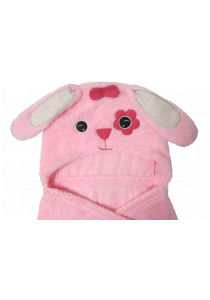 Pink Doggy Baby Blanket with Hood