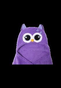 Cute Hood Baby Blanket Purple Owl