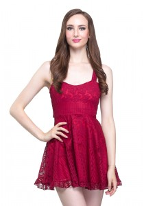 Angel Court Elastic Waistband Sleeveless Scoop Neck Mini Dress (AC37-2841)