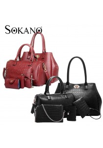 SoKaNo Trendz Elegant Crocodile Faux Leather Bags (5 pcs Set)