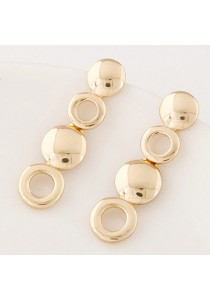 Gold Color Round Shape Decorated Hollow Out  Earrings