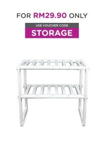 Kitchen Organizer S/S Expandable Under Sink Storage Shelf (FREE 1x Fresh ´n´ Lock 8˝ Round Seal Lid)