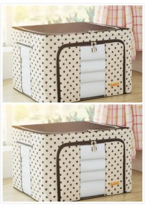 OEM Foldable Space-Saving Storage Box (2 Units Coffee Dot)