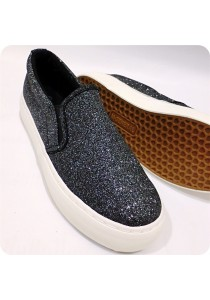 Shinning Black Canvas Shoes