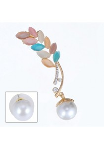 Multicolor Pearl Decorated Leaf Shape  Earrings