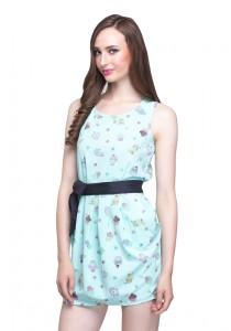 Angel Court Elastic Waistband Sleeveless Round Neck Mini Dress AC37-2782