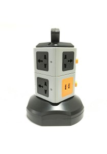 2 Layer Vertical Tower Multi Socket (Black)