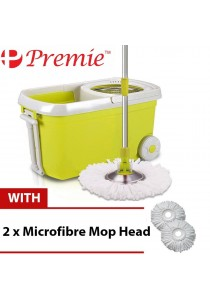 PREMIE Quality 360 Degree Spin Mop Clean Spin Dry With 2 Mop Head (GREEN)
