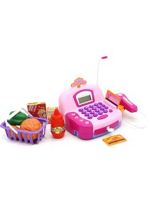 Cash Register Pretend Play Electronic With Calculator Function Light Pink