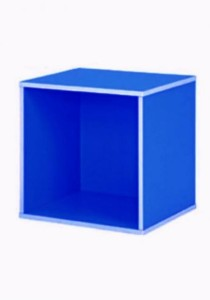 Stackable Fancy Colour Kid Cube Storage Box Bookcases (Dark Blue)