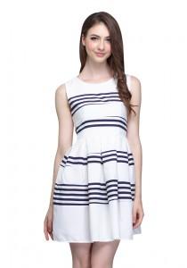 Angel Court Elastic Waistband Sleeveless Round Neck Mini Dress (AC37-2783)