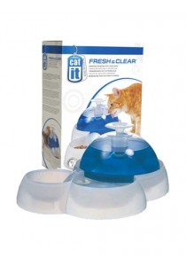 Catit Design Fresh & Clear Cat Drinking Fountain with Food Bowl - 3L (100 oz)
