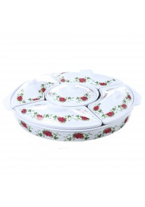 Idea Hari Raya Melamine - 5 Sections Food Serving Platter Dish Tray + Dip Cup and Lids (40cm) Red