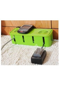 Power Cord Socket Cable Adapter Storage Box Organizer Cooling Hole (Green)