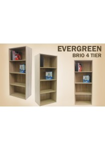 EVERGREEN - BRIO 4 Tier Bookcase - Oak